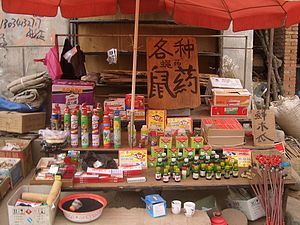 Rodenticide - Rat poison vendor's stall at a market in Linxia City, China