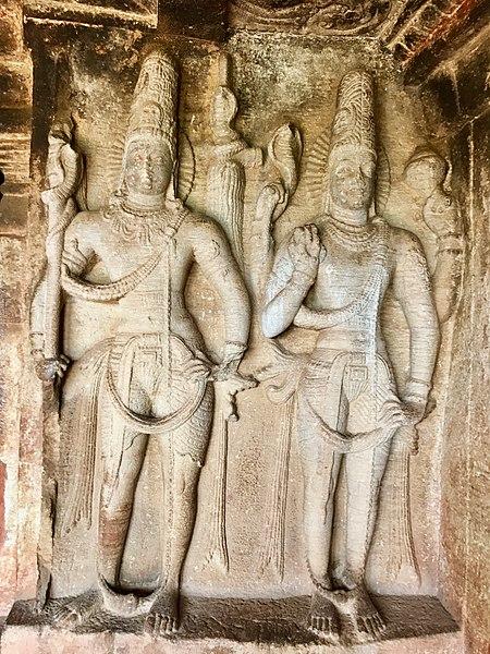 File:6th century Ravanaphadi cave temple, Shaiva guardian and Harihara (half Shiva half Vishnu), Aihole Hindu monuments Karnataka.jpg