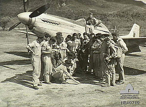 No. 84 Squadron RAAF - No. 84 Squadron pilots with a Mustang in July 1945