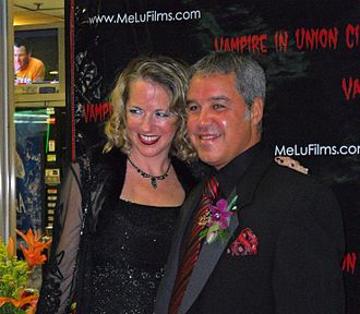 Lucio Fernandez - Fernandez with his wife, Megan, at the 2010 premiere of his film, Vampire in Union City