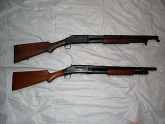 Winchester Model 1897 - Model 1897 (trench grade) and the reproduced Norinco (riot grade)