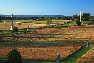 Gettysburg National Military Park - Battlefield and monuments from the Pennsylvania Memorial