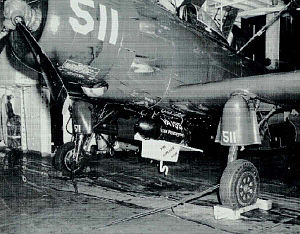 "VFA-195 (U.S. Navy) - VA-195 ""Kitchen Sink Bomb"" on an AD-4 in August 1952"