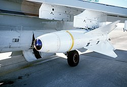 AGM-62 Walleye on a A-7C Corsair II of VX-5 at the White Sands Missile Range, 1 December 1978 (6413520).jpg