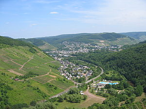 Alf, Rhineland-Palatinate - Alf with its swimming pool; in the background Bullay can be seen.