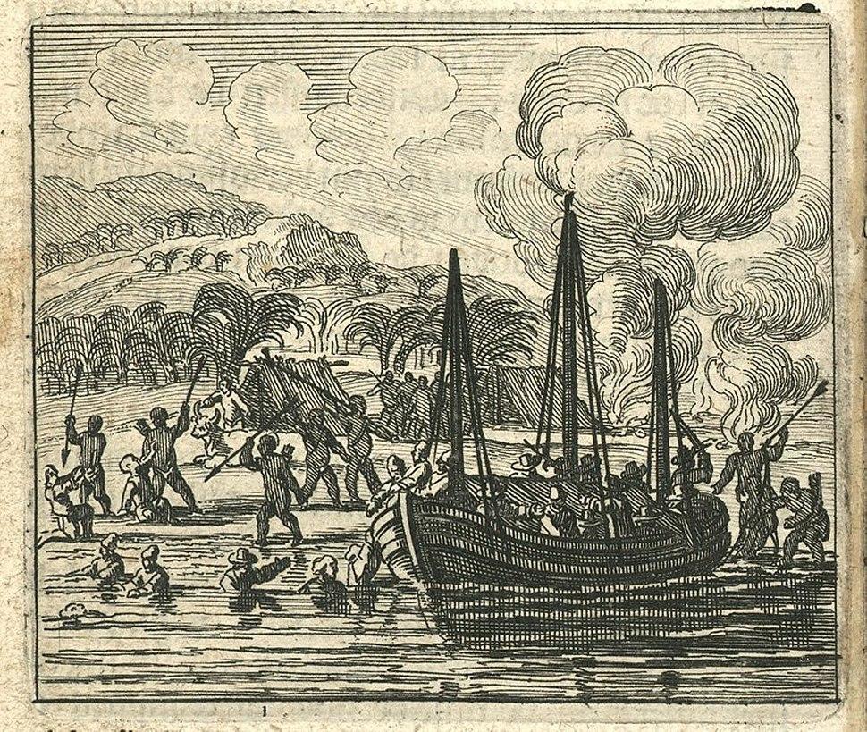 AMH-6730-KB Sumatrans attacking shipwrecked sailors