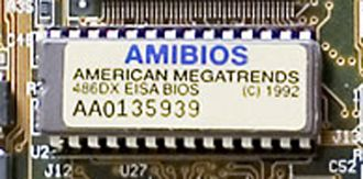 Firmware - ROM BIOS firmware on a Baby AT motherboard