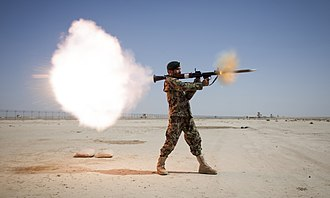 RPG-7 - An Afghan National Army soldier firing an RPG-7, 2013