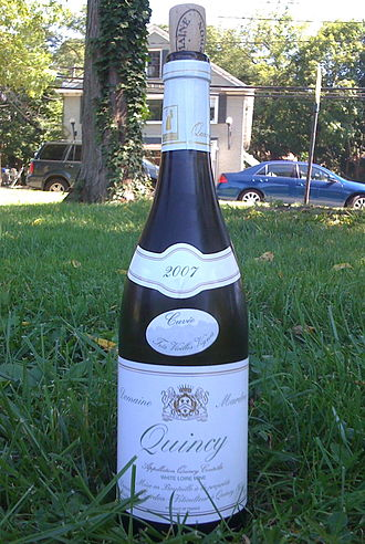 Quincy, Cher - A 2007 bottle of Quincy AOC white wine