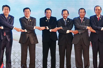 Duterte joins other ASEAN heads of states, holding hands as a symbol of unity in Vientiane, Laos, September 7, 2016. ASEAN heads of states holding hands 090716.jpg