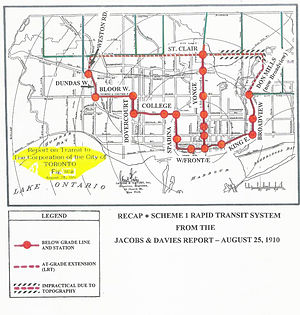 Relief Line (Toronto) - Image: A 1910 subway plan for Toronto a
