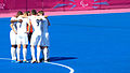 A ParalympicsGB huddle prior to their Mens Semifinal 5-8, 7-a-side game (9375559129).jpg