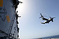 A U.S. Marine Corps MV-22B Osprey tiltrotor aircraft assigned to Marine Medium Tiltrotor Squadron (VMM) 266 takes off from the amphibious assault ship USS Kearsarge (LHD 3) in the Mediterranean Sea March 29 130329-N-UM734-073.jpg