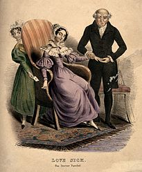 A baffled doctor taking the pulse of a love-sick young woman Wellcome V0010999.jpg