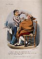 A barber shaving a large man draped in a sheet. Coloured lit Wellcome V0019704.jpg
