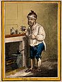 A man standing by a fire place, pulling a peculiar face afte Wellcome V0011204.jpg