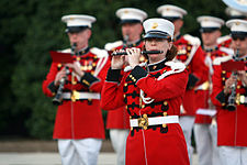 A member of the United States Marine Band playing