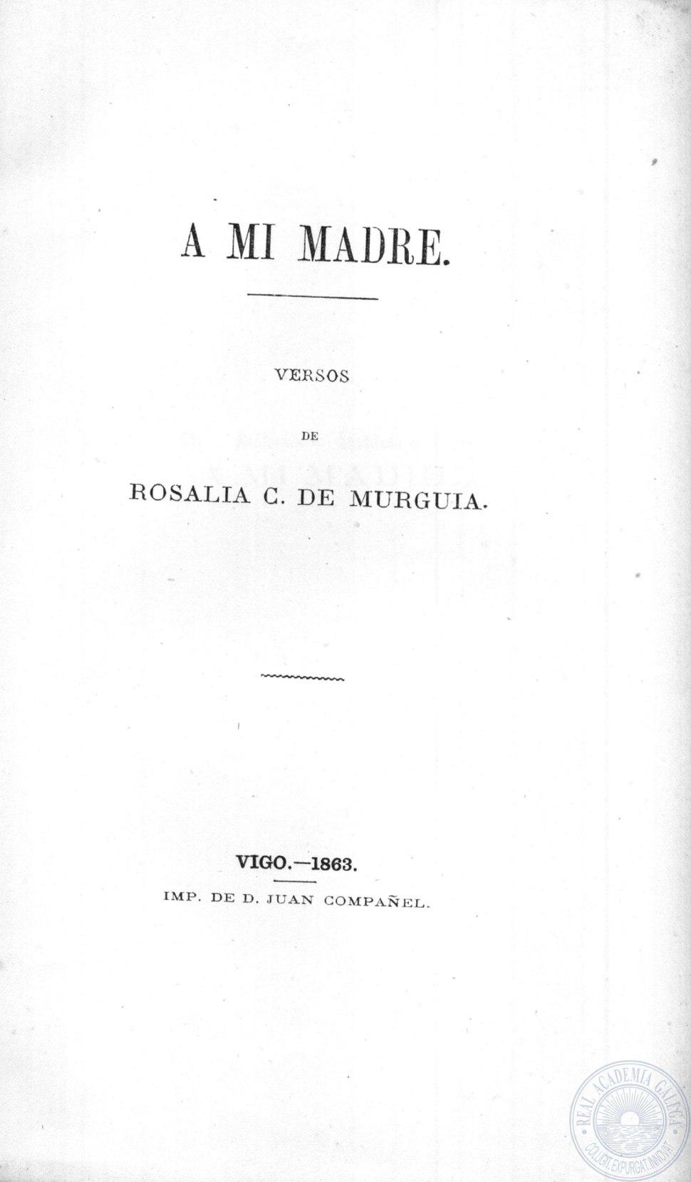 A mi madre, versos de Rosalía C. de Murguía, 1863.
