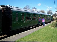 A preserved Bulleid Open Second carriage on the Bluebell Railway.jpg