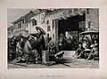 A travelling barber dressing hair in a street. Wood engravin Wellcome V0019791.jpg