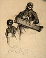 A woman carrying a baby and holding the hand of her small ch Wellcome V0015093.jpg