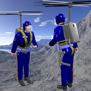 Backpack helicopter - A possible design for a helibackpack with contra-rotating twin rotors