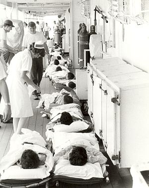 USS Sanctuary (AH-17) - Navy nurse and Patients Aboard USS Sanctuary in the 1960s