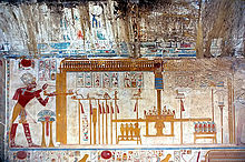 Example of a relief in Temple Chapel of Osiris, Temple of Seti I, Abydos, Egypt
