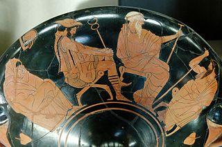 Coupe à figures rouges avec en décor L'ambassade auprès d'Achille