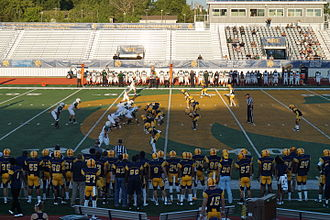 Nickel defense - The Texas A&M–Commerce Lions in a nickel defense against the Adams State Grizzlies in 2015