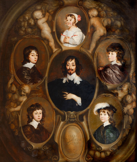 Huygens and his children (property of the Mauritshuis, The Hague) Adriaen Hanneman - Constantijn Huygens and his-five-children.png
