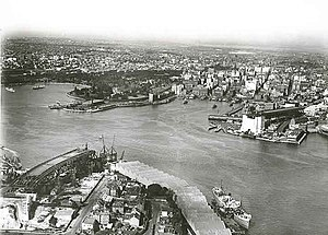 Sydney Opera House - Bennelong Point with tram depot in the 1920s (top left-hand side of photograph)