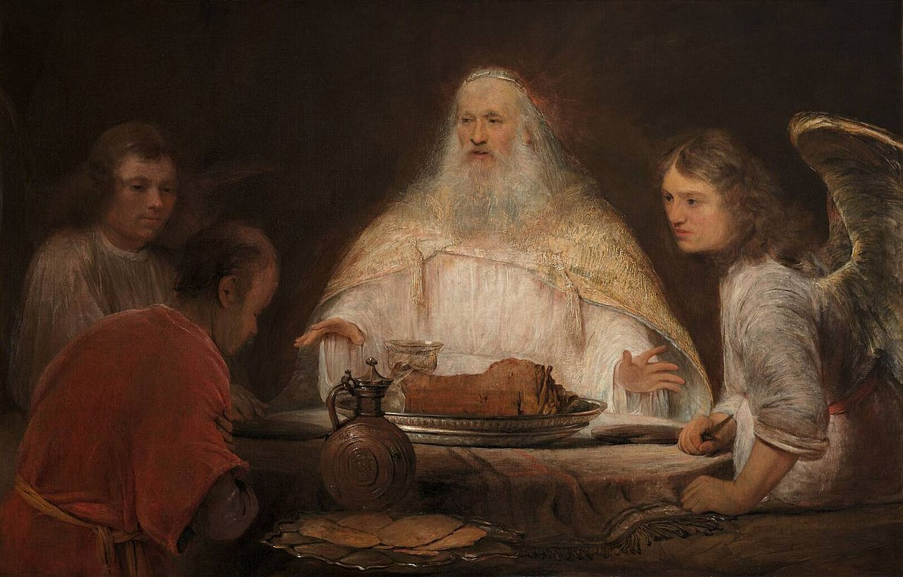 Abraham and the Angels by Aert de Gelder (c. 1680–85) dans images sacrée 1280px-Aert_de_Gelder_009