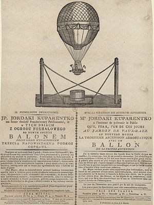 History of ballooning - Iordache Cuparencu is believed to be the first man to survive an air accident. A poster from 1808.