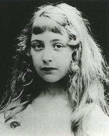 Black-and-white portrait photograph of Christie as a girl