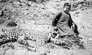 Persian leopard - Ahmad Shah Qajar sitting with a hunted Persian leopard.
