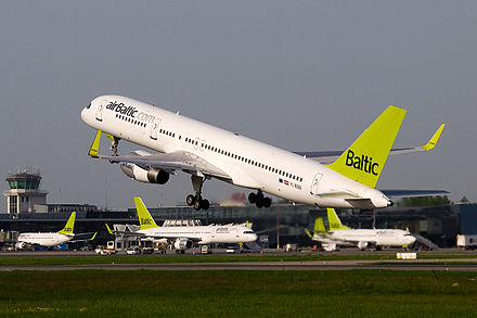 An airBaltic Boeing 757-200WL takes off at Riga International Airport (RIX) AirBaltic Boeing 757-200 at RIX.jpg