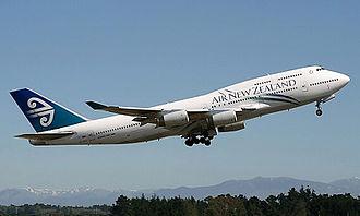 Christchurch International Airport - A departing Air New Zealand Boeing 747-400 in 2010