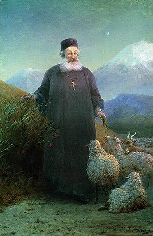 Mkrtich Khrimian - Khrimian Hayrik near Etchmiadzin, Ivan Aivazovsky, 1895, Aivazovsky National Art Gallery, Feodosia.