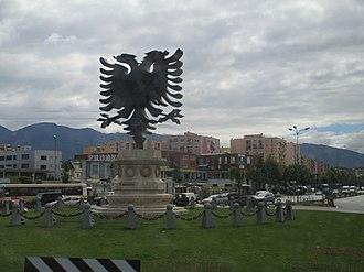Flag of Albania - Albanian Double-Headed Eagle Monument in the capital of Albania, Tirana