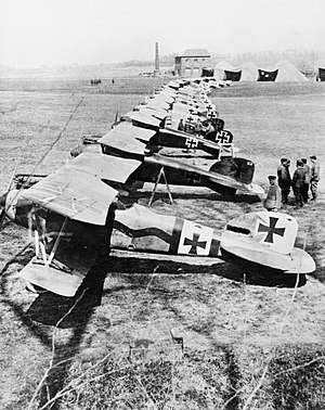 Albatros D.III - Albatros D.III fighters of Jasta 11 at Douai, France. The second closest aircraft was one of several flown by Manfred von Richthofen