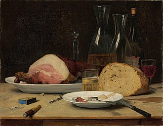 Albert Anker - The exactingly painted Still Life: Excess (1896) depicts the remnants of a large meal