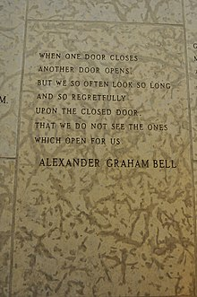 5aaa68390f5 A quote by Alexander Graham Bell engraved in the stone wall within the  Peace Chapel of the International Peace Garden (in Manitoba Canada and  North Dakota, ...