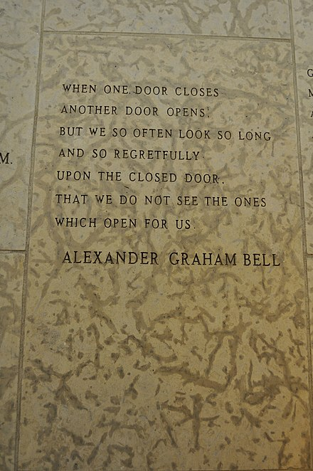 A quote by Alexander Graham Bell engraved in the stone wall within the Peace Chapel of the International Peace Garden (in Manitoba Canada and North Dakota, USA). Alexander Graham Bell Quote in stone.jpg