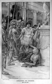 lithograph of the meeting of Alexander and Diogenes: Alexander, with an entourage of soldiers, standing over Diogenes sunbathing in the street