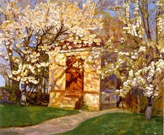 Alhed Larsen - Havehuet med blomstrende kirsebær (1927).