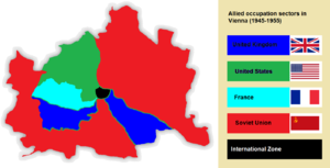 International zone - The four sectors of occupation in Vienna between 1945-1955.