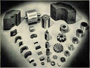 Alnico - Assortment of Alnico magnets in 1956. Alnico 5, developed during World War 2, led to a new generation of compact permanent magnet motors and loudspeakers.