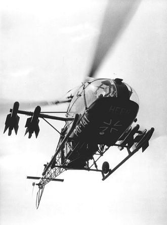 Military helicopter - First generation Alouette anti-tank helicopter of the German Army armed with SS.10 missiles