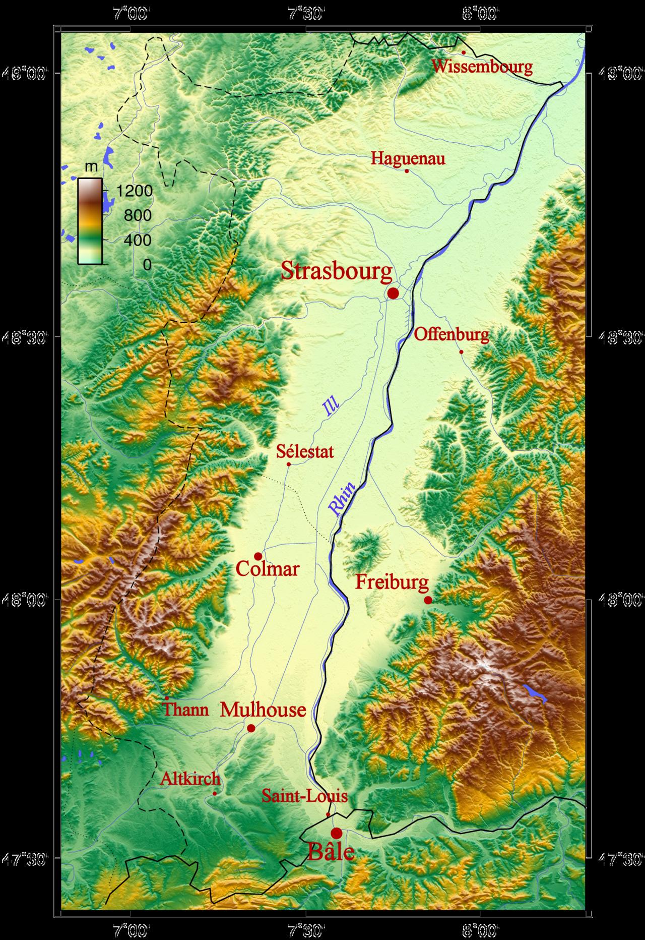 illustration couleur du relief du bassin rhénan entouré des Vosges et de la Forêt Noire. Les principales villes sont mentionnées.